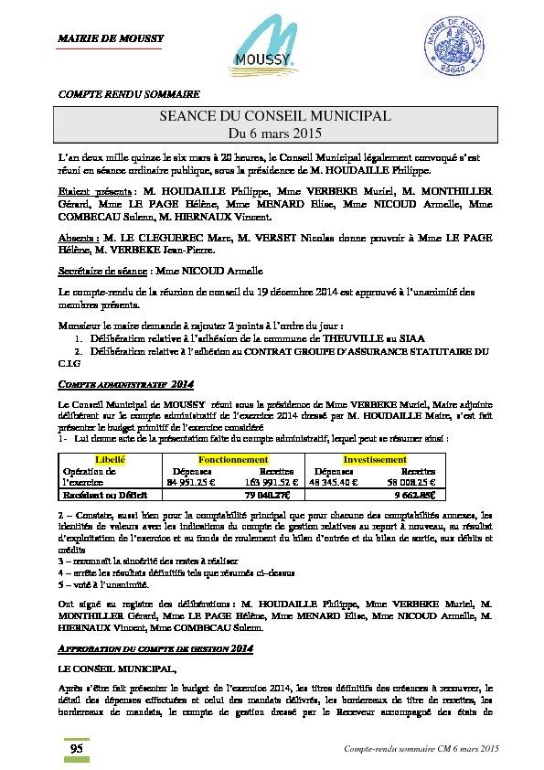 Compte rendu du conseil municipal du 6 mars 2015