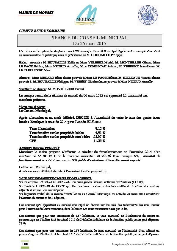 Compte rendu du conseil municipal du 5 mai 2015