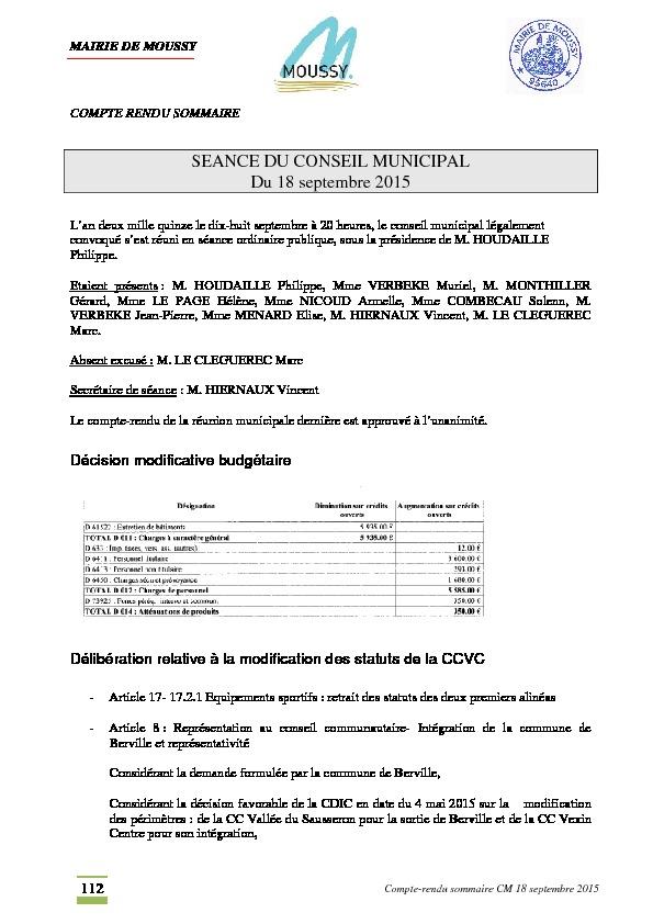 Compte rendu du conseil municipal du 18 septembre 2015