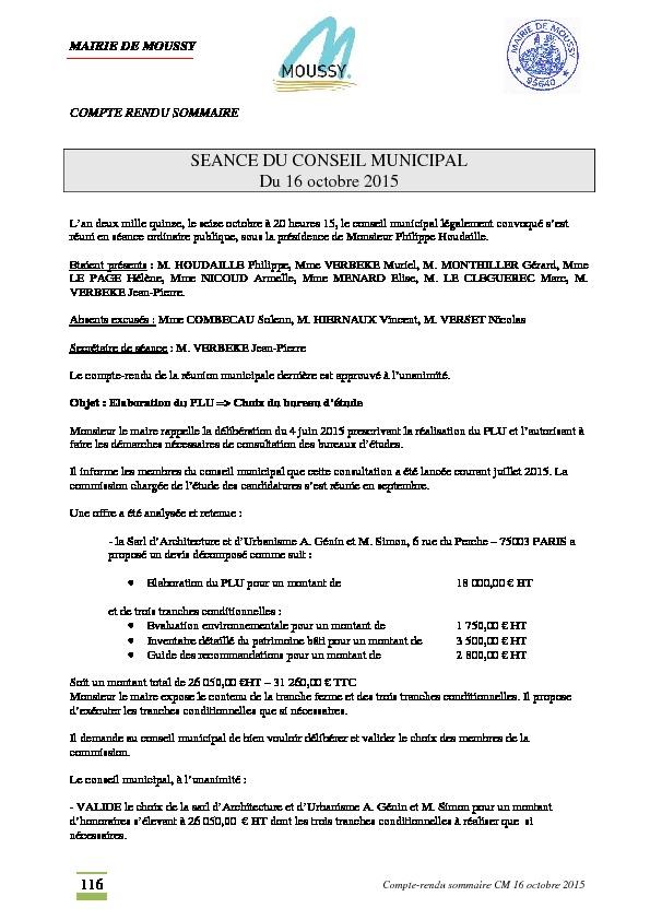Compte rendu du conseil municipal du 16 octobre 2015