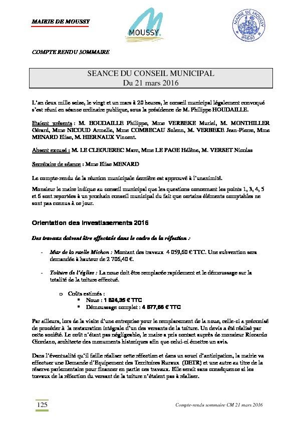 Compte rendu du conseil municipal du 21 mars 2016
