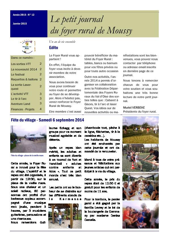 Petit journal du Foyer Rural – Janvier 2015