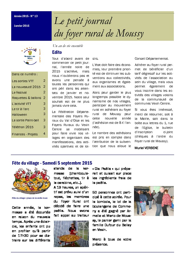 Petit journal du Foyer Rural – Janvier 2016