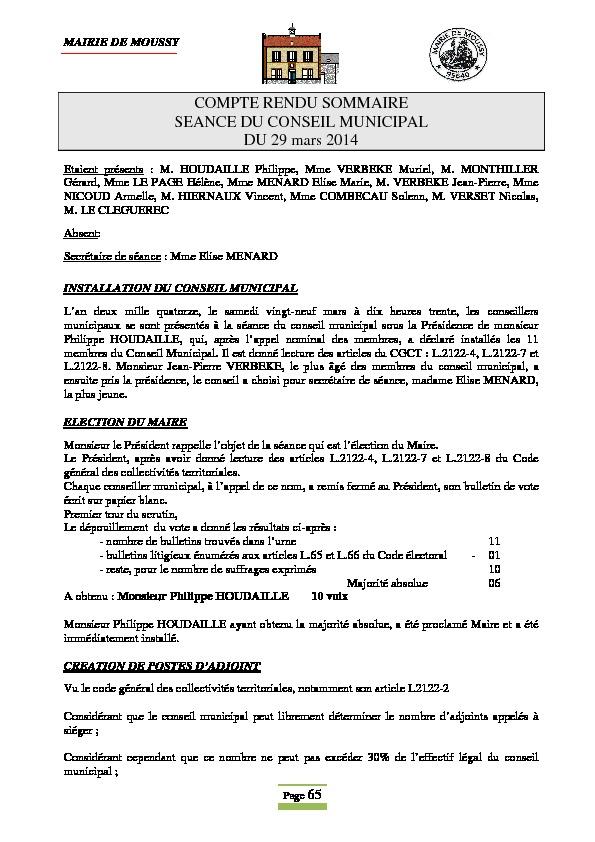 Compte rendu du conseil municipal du 29 mars 2014