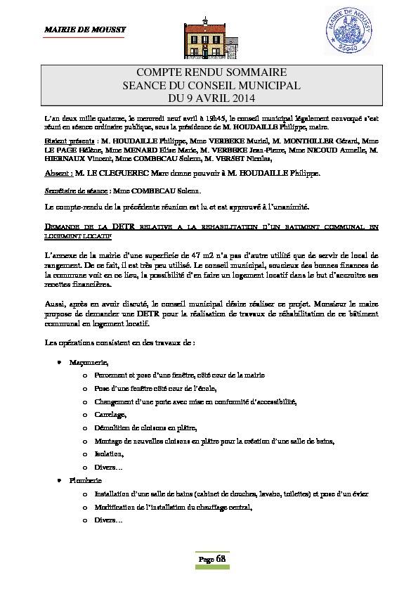 Compte rendu du conseil municipal du 9 avril 2014