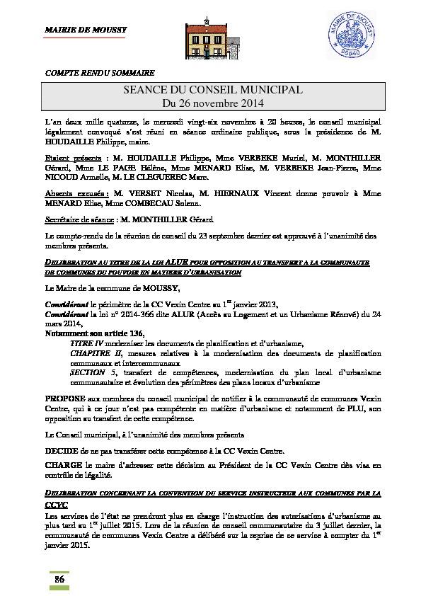 Compte rendu du conseil municipal du 26 novembre 2014