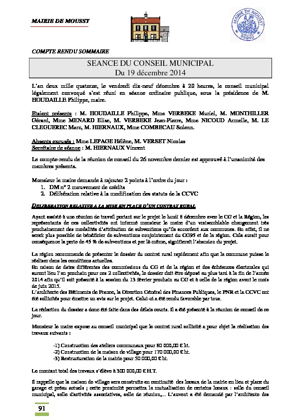Compte rendu du conseil municipal du 19 décembre 2014