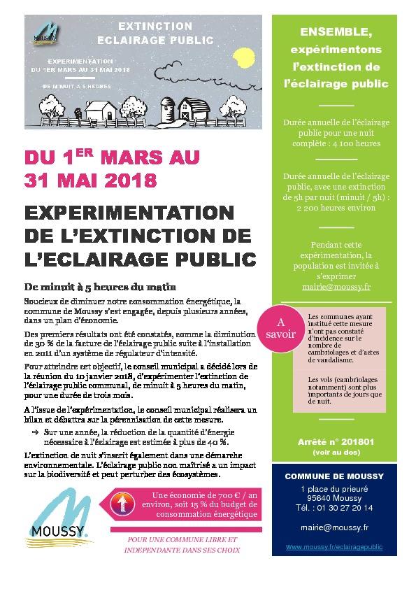 Moussy et vous – Expérimentation de l'extinction de l'éclairage public