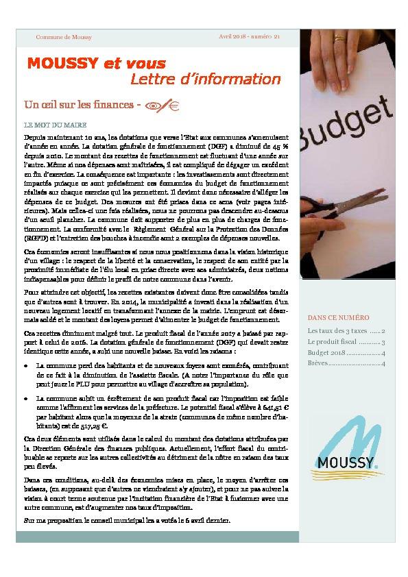 Moussy et Vous : Un œil sur les finances