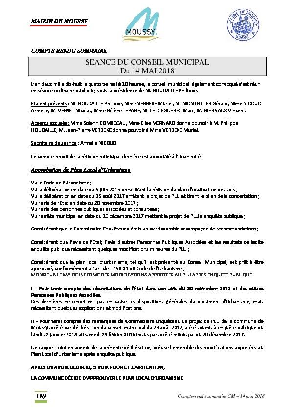 Compte rendu du conseil municipal du 14 mai 2018