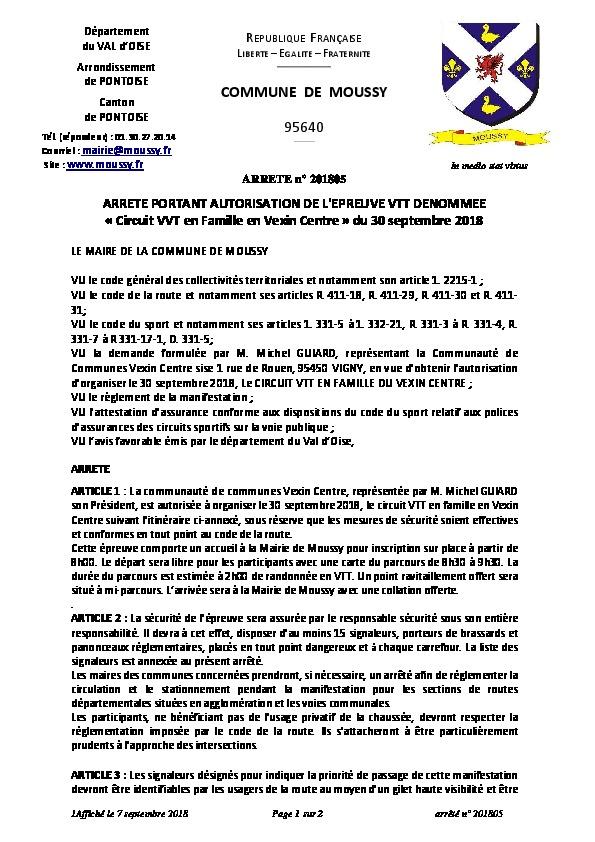 ARRÊTÉ n° 201805  PORTANT AUTORISATION DE L'ÉPREUVE VTT DÉNOMMÉE « Circuit VTT en Famille en Vexin Centre » du 30 septembre 2018