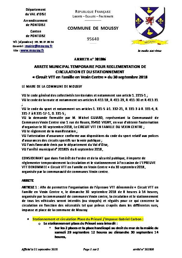 ARRÊTÉ n° 201806  POUR RÉGLEMENTATION DE CIRCULATION ET DU STATIONNEMENT  « Circuit VTT en Famille en Vexin Centre » du 30 septembre 2018
