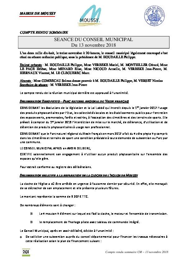 Compte rendu du conseil municipal du 13 novembre 2018