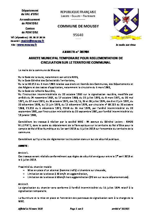 Arrêté temporaire de circulation – MBC