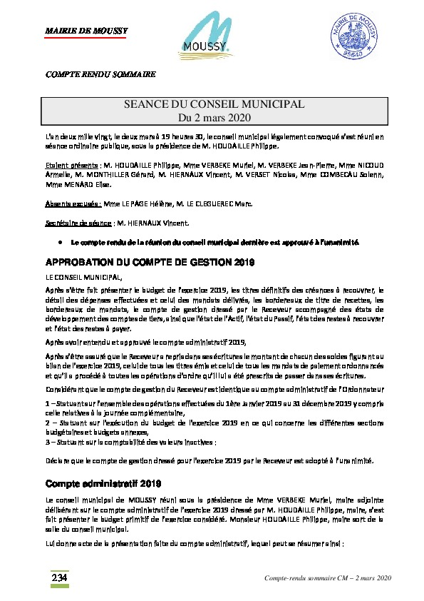 Compte rendu du conseil municipal du 2 mars 2020