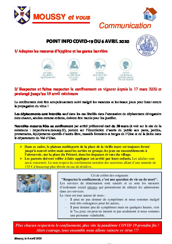 Point Info covid19 06 avril 2020
