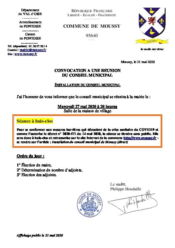 Installation du conseil municipal – 27 mai 2020