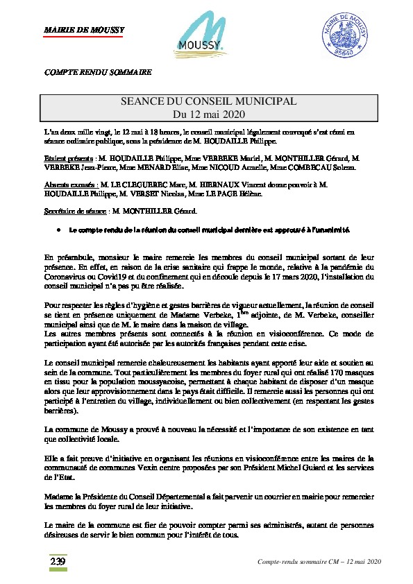 Compte rendu du conseil municipal du 12 mai 2020