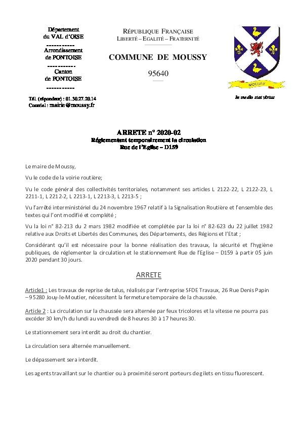 Arrêté de circulation temporaire – SFDE
