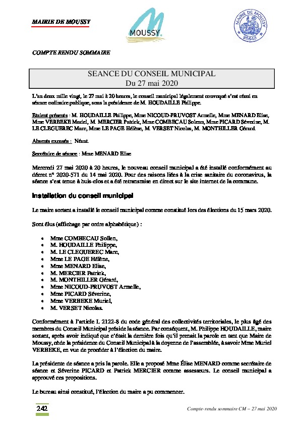 Installation du conseil municipal du 27 mai 2020