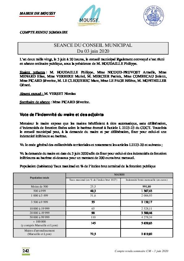Compte-rendu du conseil municipal du 3 juin 2020