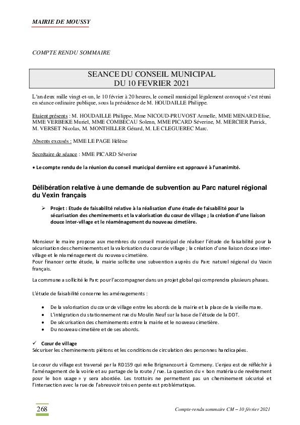 Compte-rendu du conseil municipal du 10 février 2021