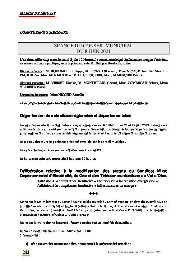 Compte-rendu du conseil municipal du 8 juin 2021