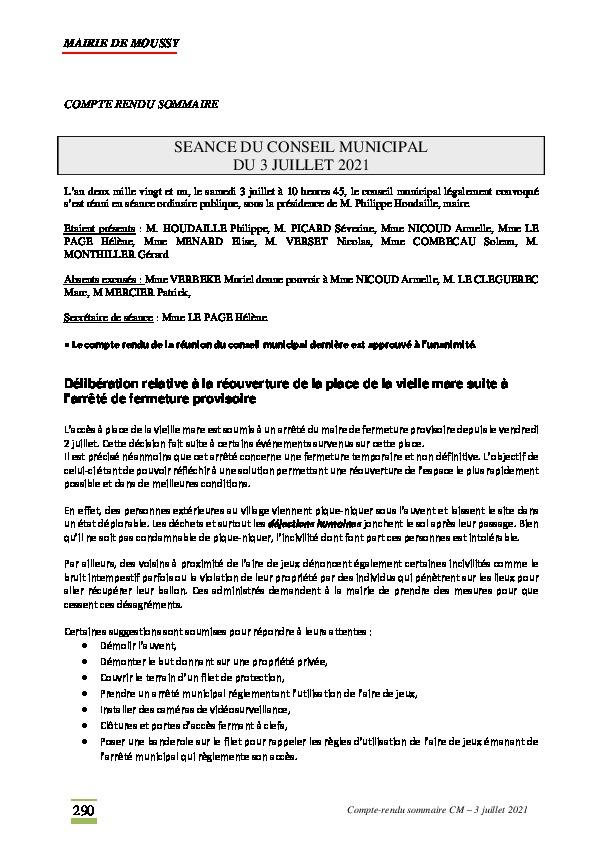 Compte-rendu du conseil municipal du 3 juillet 2021
