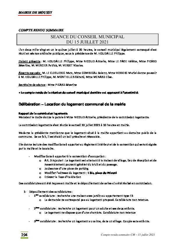 Compte-rendu du conseil municipal du 15 juillet 2021